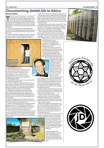 Jewish Report, April 13-20, 2018, Johannesburg, South Africa.