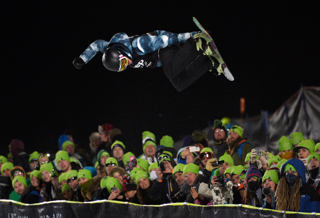 . Kelly Clark goes big during the Women\'s Snowboard SuperPipe Finals at the Winter X Games in Aspen, January, 25 2014. The X Games will continue to be in Aspen at Buttermilk Mountain through 2019. (Photo by RJ Sangosti/The Denver Post)