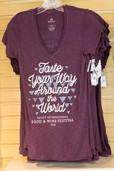 Taste Your Way Around the World T-shirt Rose - Epcot Food & Wine Festival 2016