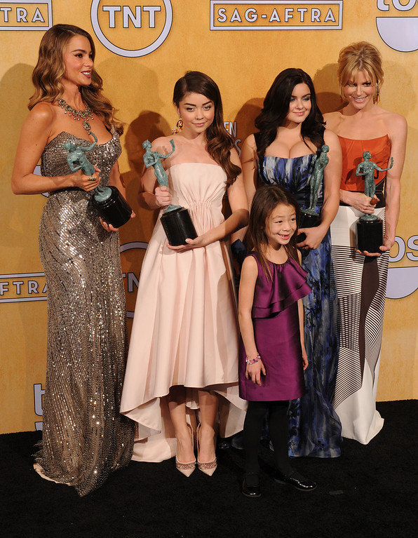 . The women from Modern Family. Sofia Vergara, Sarah Hyland, Ariel Winter, Julie Bowen, and in front Aubry Anderson-Emmons. backstage at the 20th Annual Screen Actors Guild Awards  at the Shrine Auditorium in Los Angeles, California on Saturday January 18, 2014 (Photo by John McCoy / Los Angeles Daily News)