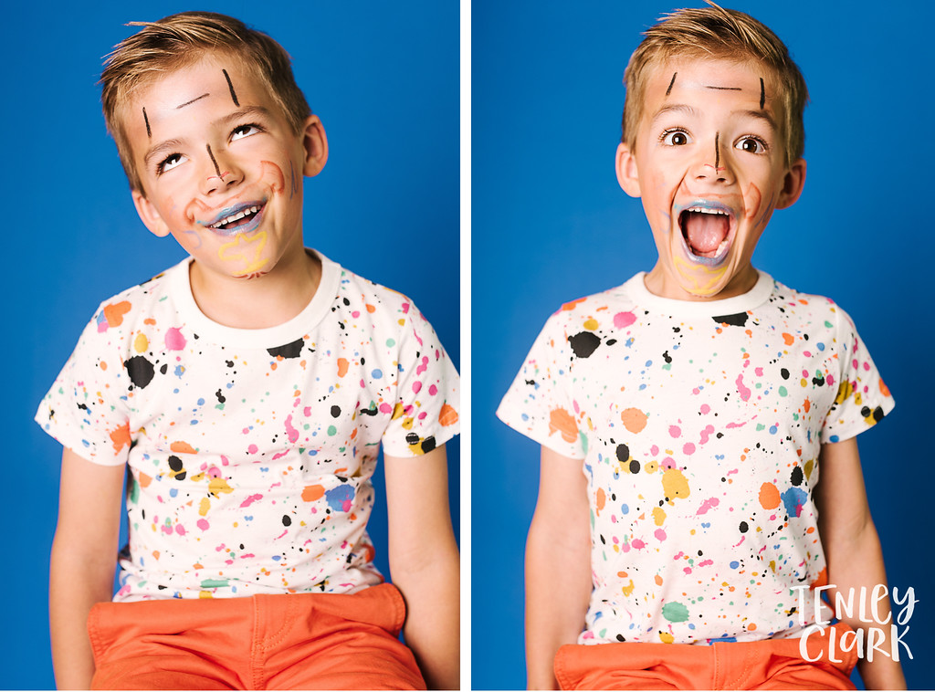 Playful studio portraits of kids doing their own makeup on colorful backdrops. Commercial photography by Tenley Clark.