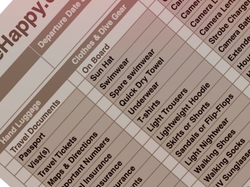 Liveboard Packing List PDF