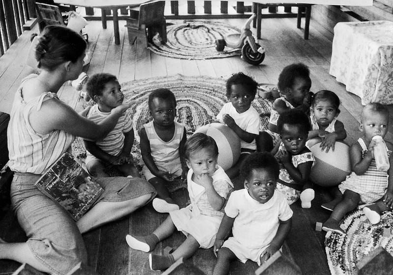 ". Children of members of the ""Temple of people\"" cult in 1978 in Georgetown, renamed Jonestown after the leader Jim Jones. Bodies of more than 900 members of the sect were discovered after they committed  mass suicide in compliance with the rules of the sect on November 20, 1978. (Photo by AFP/Getty Images)"