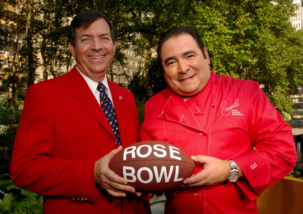 . Tournament of Roses President CL Keedy, left, announces Chef Emeril Lagasse as Grand Marshal of the 2008 Tournament of Roses Parade June 8, 2007.  (Photo courtesy Tournament of Roses)