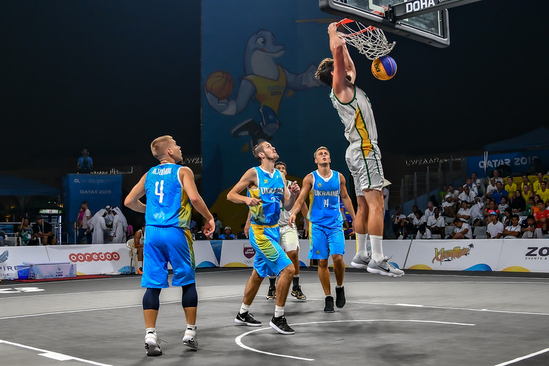 Ukraine and Brasil in action in the semi-final of the International 3x3 Basketball Tournament during the 1st ANOC World Beach Games at Katara on October 16, 2019 in Doha, Qatar. Photo by Tom Kirkwood/SportDXB
