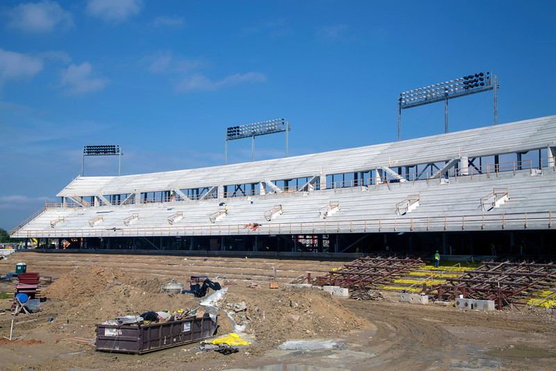View of what will be the north visitors side of the stadium.