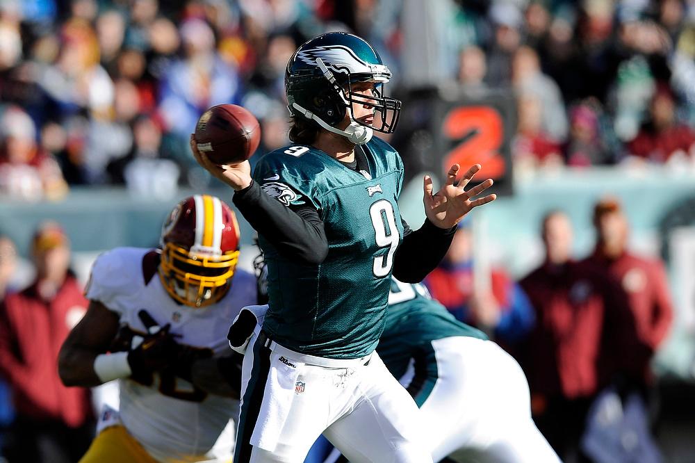 . Philadelphia Eagles\' Nick Foles (9) passes in the first half of an NFL football game against the Washington Redskins, Sunday, Dec. 23, 2012, in Philadelphia. (AP Photo/Michael Perez)