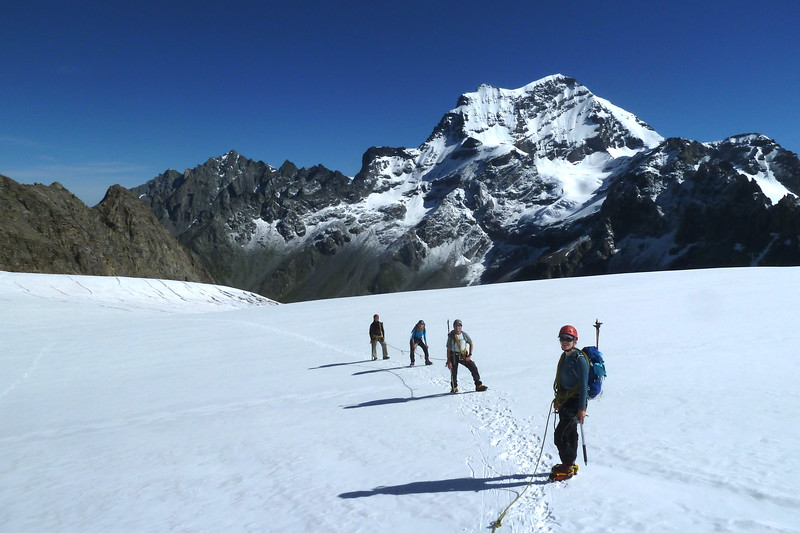 Gaining Valsory glacier with the Grand Combin in the background