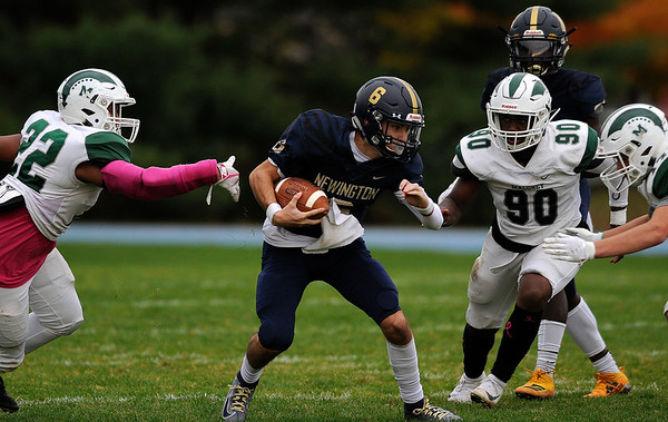 10/25/2019 Mike Orazzi | StaffrNewington High Schools Nicholas Pestrichello (6) during Friday afternoons football game with Maloney High School in Newington. rrr