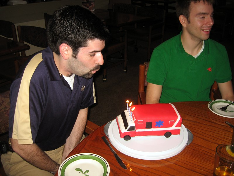 David blows out his birthday candles