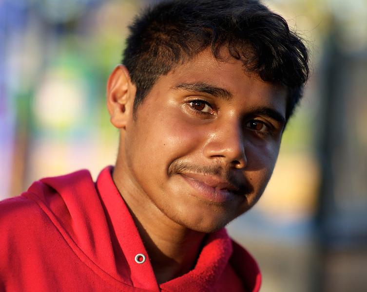 Teenage Aboriginal Boy  with a faint moustache