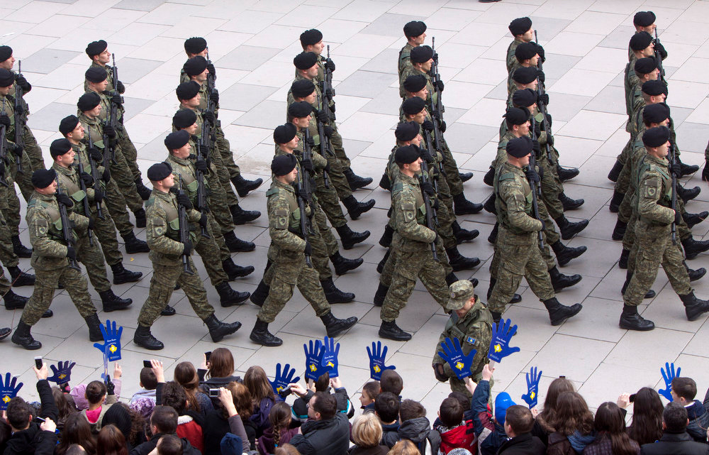 . Kosovo Security Force members parade in the center of Pristina marking the 5th anniversary since Kosovo seceded from Serbia on Sunday, Feb. 17, 2013. Serbia rejects Kosovo\'s independence. (AP Photo/Visar Kryeziu)