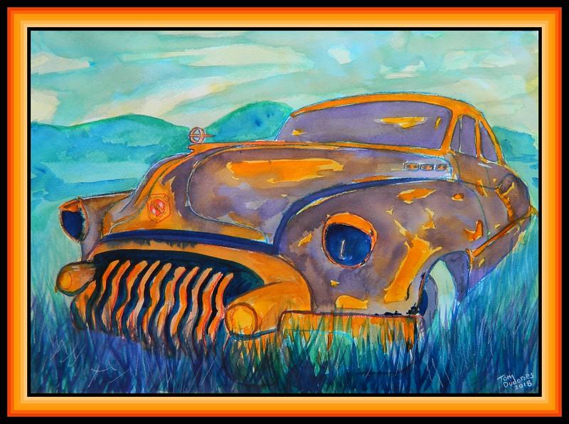 1950 Buick-Riviera, 10x14, watercolor, april 16, 2018.