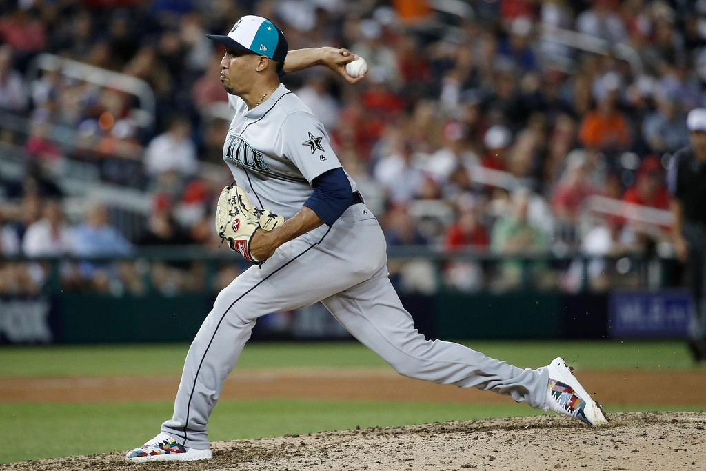. Seattle Mariners pitcher Edwin Diaz (39) throws in the ninth inning during the Major League Baseball All-star Game, Tuesday, July 17, 2018 in Washington. (AP Photo/Alex Brandon)