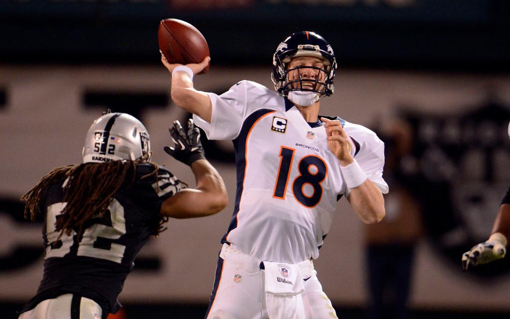 . Oakland Raiders outside linebacker Philip Wheeler (52) puts a big rush on Denver Broncos quarterback Peyton Manning (18) during the fourth quarter Thursday, December 6, 2012 during Thursday Night Football at O.c Coliseum in Oakland  John Leyba, The Denver Post
