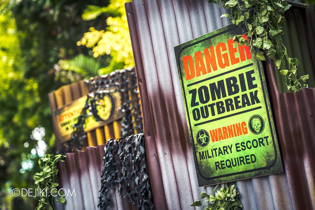 Universal Studios Singapore Halloween Horror Nights 8 / Zombie Laser Tag 2018 warning signs