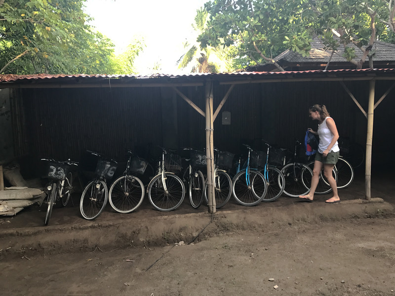 The hotel supplies bikes to get around the island as there are no motorized vehicles.  Here Ceci is careful to choose her ride for the day...