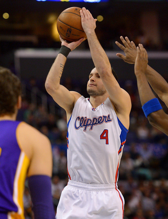 . Clippers J.J. Redick scored 19 points in his first game back from his injury, Friday, January 10, 2014, at Staples Center. (Photo by Michael Owen Baker/L.A. Daily News)
