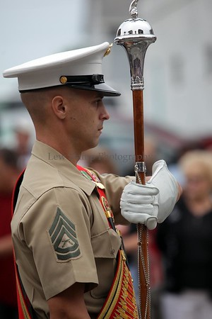 Drum Major, Marine Gunnery Sergeant William Kanteres, leads the marine band at the Timken Grand Parade celebrating the Pro Football Hall of Fame induction ceremony on Saturday, August 8, in Canton. Ohio  By Lew Stamp, PhotoStamp@sbcglobal.net