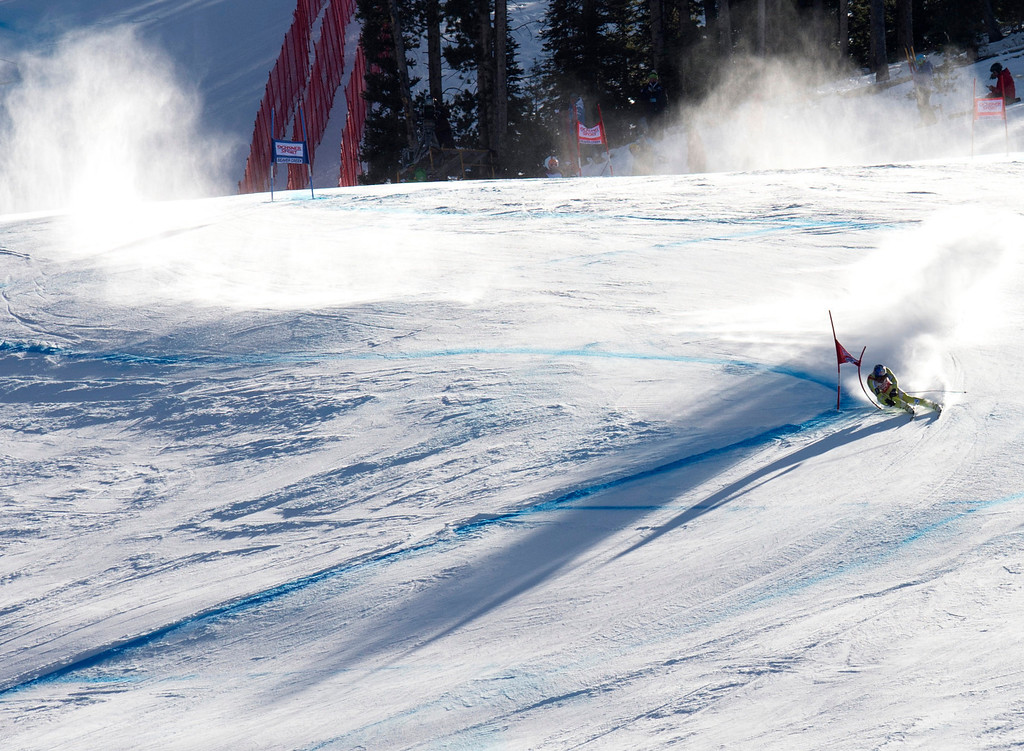. Aksel Lund Svindal of Norway carves past a gate to take second place in the FIS Alpine World Cup men\'s Super G on December 1, 2012 in Beaver Creek, Colorado.     DON EMMERT/AFP/Getty Images