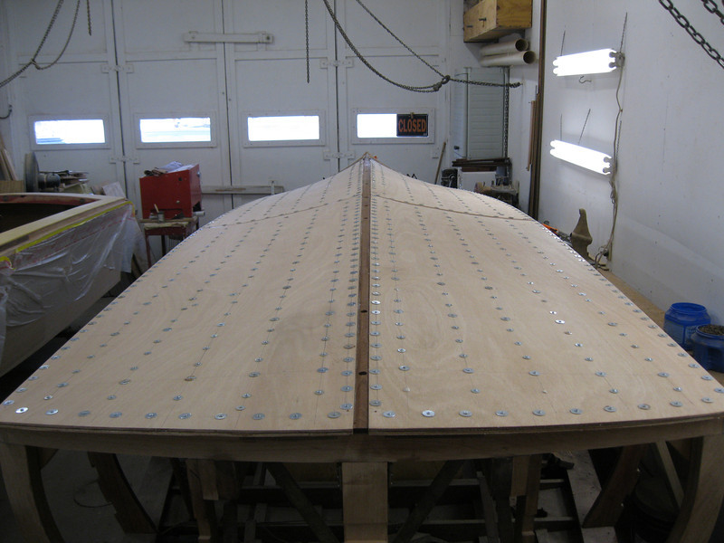Rear view of the final layer of plywood installed. Held in place with tempory fasteners.