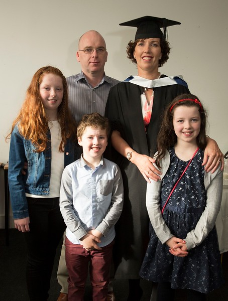 28/10/2015 Image Free to Use. Conferring at Waterford Institute of Technology. Helan ryan from Tipperary Batchelor of Arts in Adult Education with her family Abbie, Kenny, Robert and Clodagh.Photo; Mary Browne