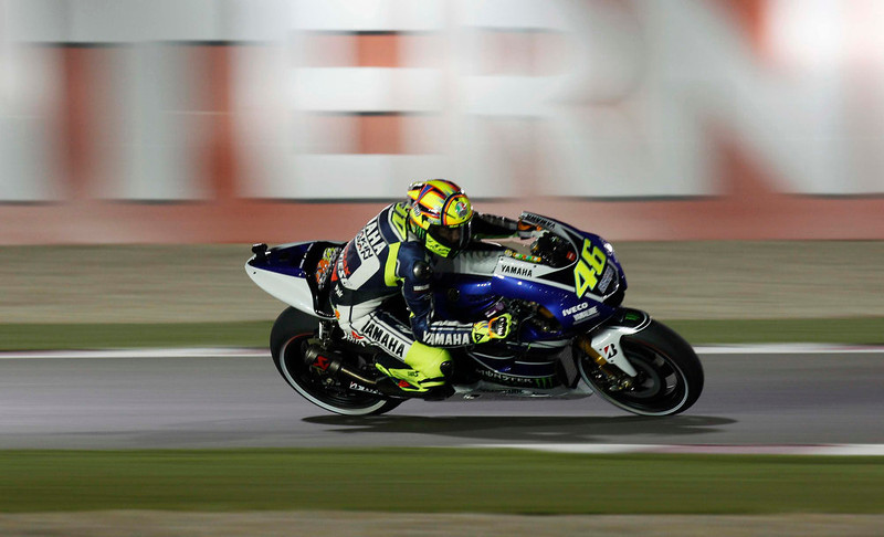 . Yamaha MotoGP rider Valentino Rossi of Italy rides during a free practice for the Qatar Grand Prix at Losail International Circuit in Doha April 4, 2013. REUTERS/Mohammed Dabbous