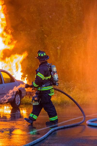 8-23-16 Mutual-Aid Car Fire Drill