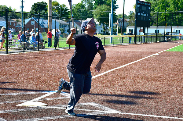 9/29/2018 Mike Orazzi | Staff New Britain Fire Chief Raul Ortiz during the annual charity softball game between the New Britain fire and police departments at Chesley Park. This year, the fire department decided to raise money for New Britain-based Connecticut Breast Health Initiative, an organization that raises money and distributes it to breast cancer-related research and education in the state. CT BHI was picked this year in honor of New Britain Police Department Lt. Julia Gallup, who was diagnosed with breast cancer earlier this year and has been fighting the disease since.