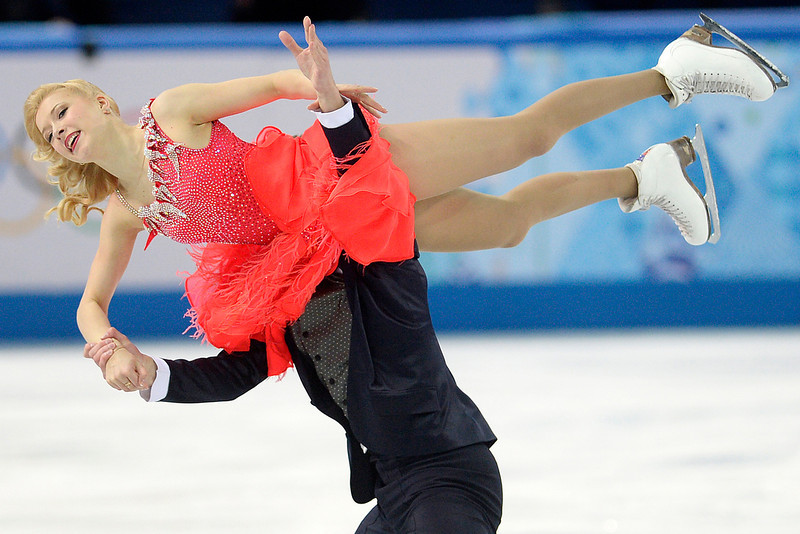 . Russia\'s Dmitri Soloviev and Ekaterina Bobrova perform en route to a 70.27 in ice dance short during team figure skating. Sochi 2014 Winter Olympics on Saturday, February 8, 2014. (Photo by AAron Ontiveroz/The Denver Post)