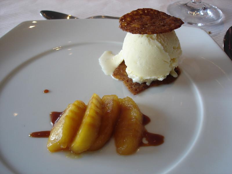 Caramelized apples on feuillantine cookie a la mode