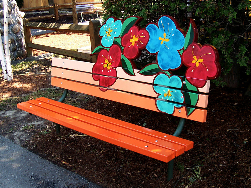 Another new, themed bench across from Flower Power.