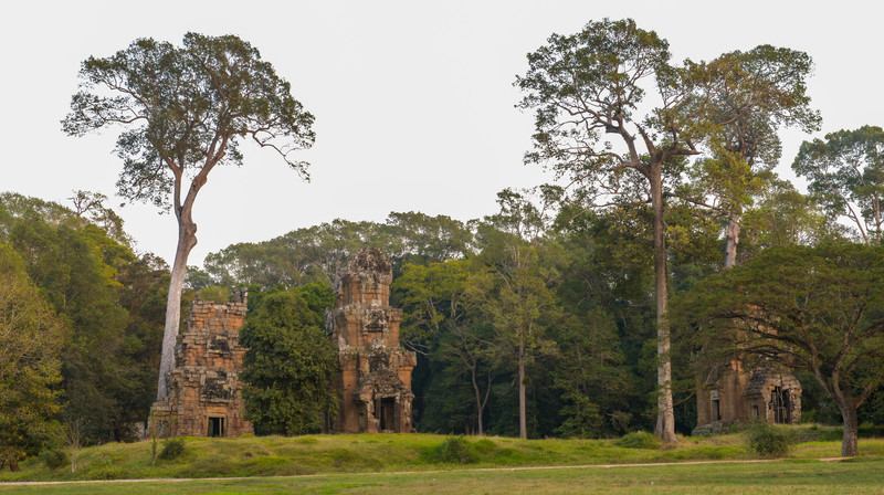Angkor Thom. Directly across from the Elephant Terrace there are 12 laterite towers, whose purpose is not known.