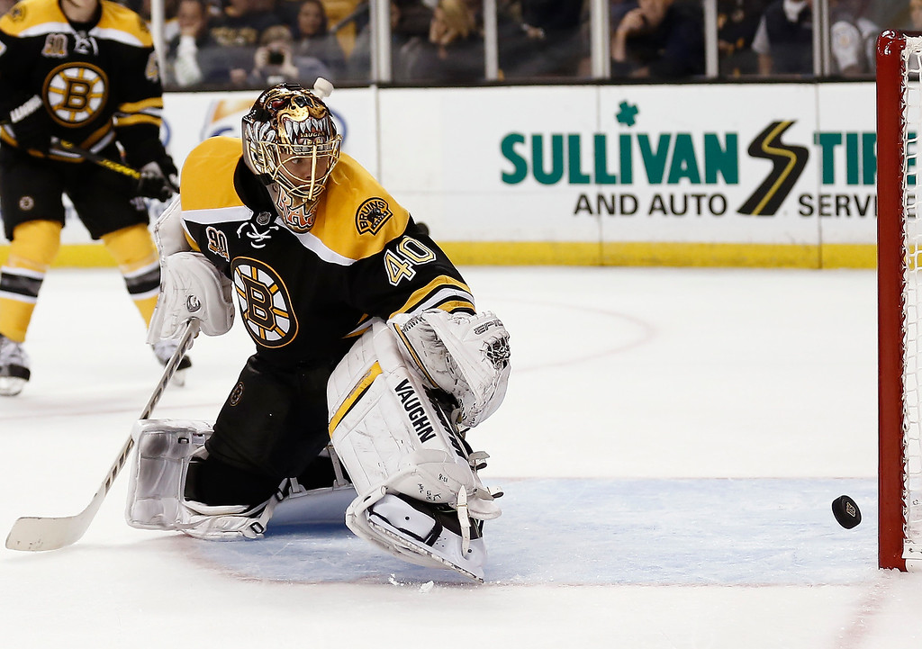 . Boston Bruins goalie Tuukka Rask looks back to see the puck hit the post during the third period of the Bruins\' 2-0 loss to the Colorado Avalanche in an NHL hockey game in Boston on Thursday, Oct. 10, 2013. (AP Photo/Winslow Townson)