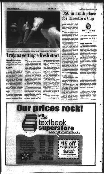 Daily Trojan, Vol. 148, No. 2, January 15, 2003