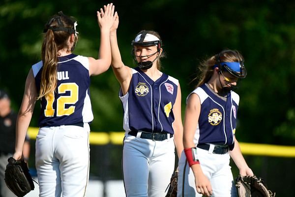 7/24/2019 Mike Orazzi   Staff Connecticut's Madyson Bull and Talia Salanto (4) during Wednesday's Little League softball game with New Jersey at Breen Field in Bristol.