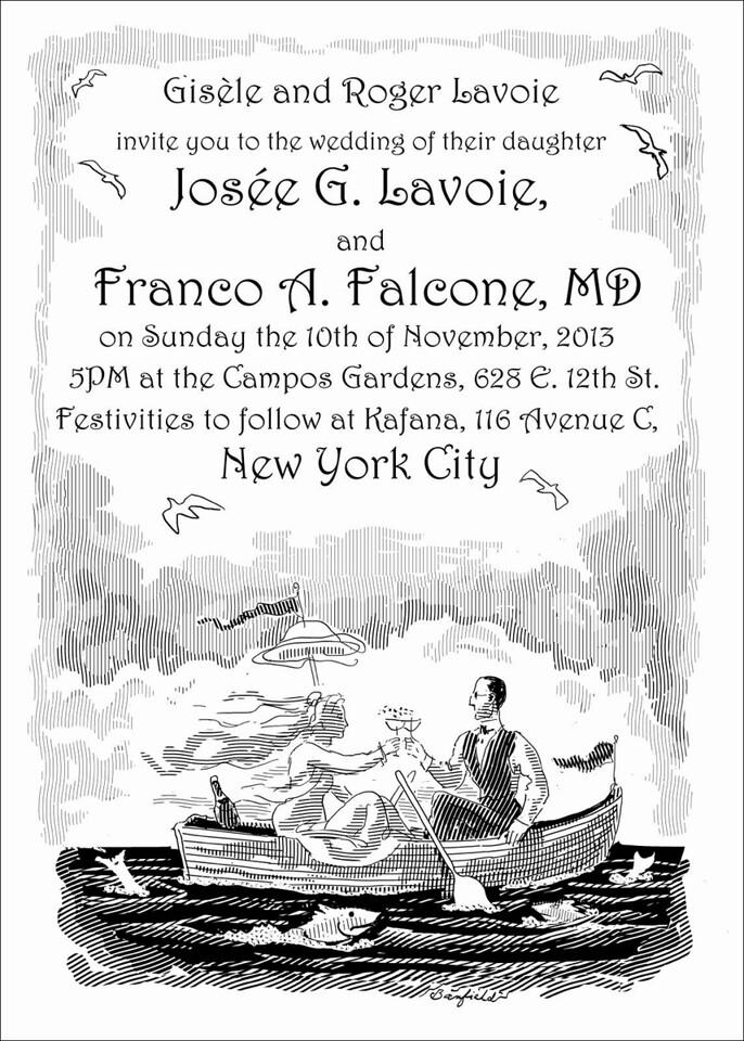 Snail mail version of wedding invitation