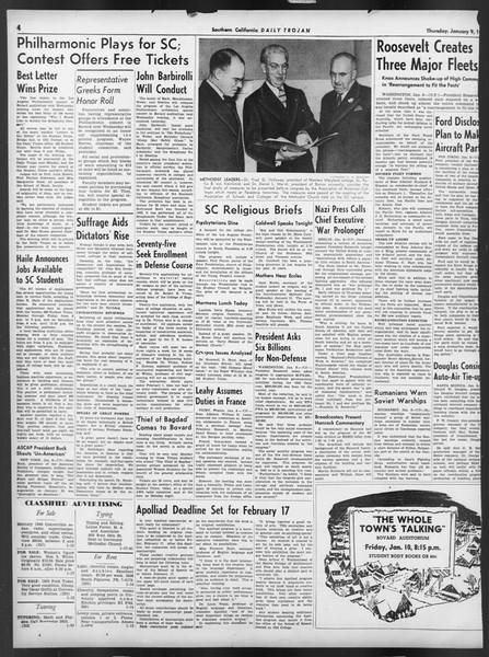 Daily Trojan, Vol. 32, No. 68, January 09, 1941