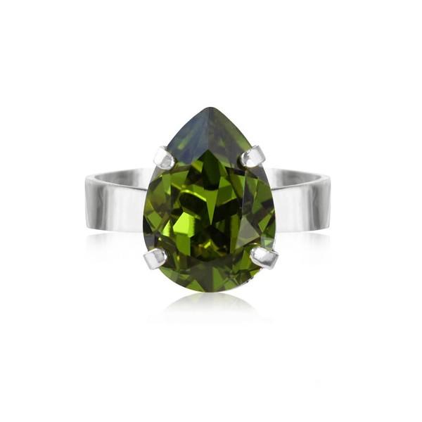 Mini Drop Ring / Olivine Rhodium