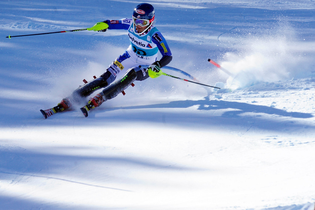 . Mikaela Shiffrin, 17, of Eagle-Vail, races during the first women\'s slalom run at the Nature Valley Aspen Winternational Audi FIS Ski World Cup at Aspen Mountain in Aspen on Sunday, Nov. 25, 2012. Shiffrin was the 10th qualifier to make it to Sunday\'s second run. Daniel Petty, The Denver Post