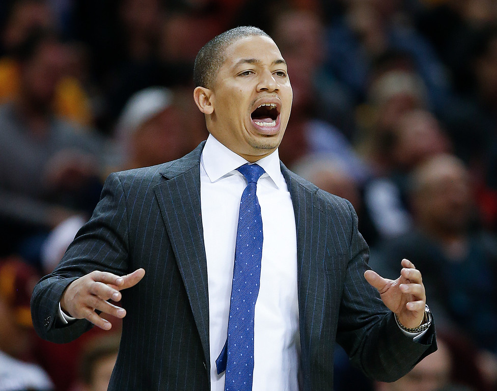 . Cleveland Cavaliers head coach Tyronn Lue directs his team against the Portland Trail Blazers during the second half of an NBA basketball game Wednesday, Nov. 23, 2016, in Cleveland. The Cavaliers won 137-125. (AP Photo/Ron Schwane)