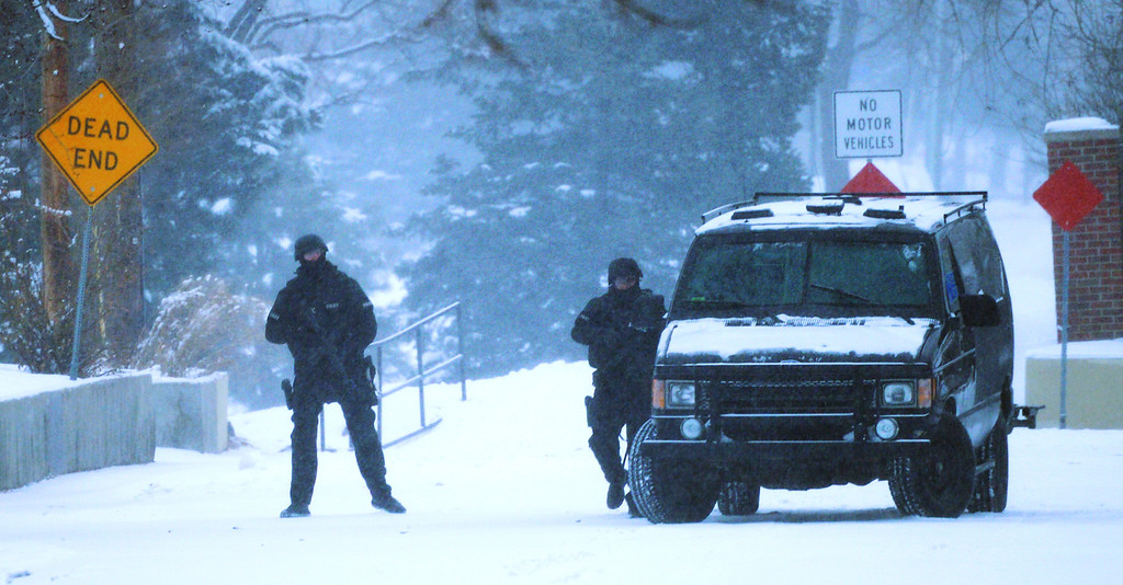 . Police continue to work a hostage situation in Arvada, February, 04 2014. There is heavy police and SWAT presence in the 6100 block of Grey Street, and surrounding homes have been evacuated. (Photo by RJ Sangosti/The Denver Post)