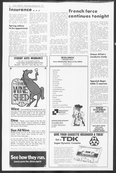 Daily Trojan, Vol. 64, No. 50, December 08, 1971