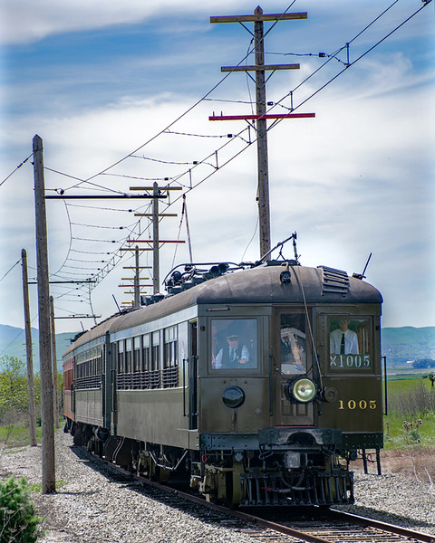 "April 13, 2019. Western Railway Museum's springtime ""Scenic Limited"" through the green hills to Birds Landing."