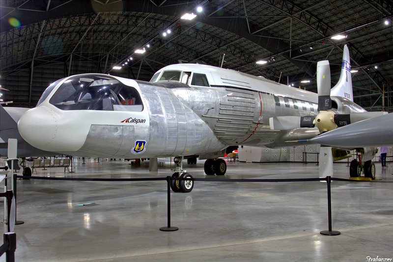 National Museum of the United States Air Force, Dayton, Ohio,   04/13/2019  Convair NC-131H Total In-Flight Simulator (TIFS)  N793VS From a Convair NC131H Samaritan c/n 340-245  53-7793   An important in-flight simulator primarily used to study how an  aircraft would handle before building an expensive, full-scale  prototype.   It was especially useful for studying how large  aircraft would handle during takeoff and landing. Vertical fins (see separate photo)  on the wings generated side forces to  simulate crosswinds   This work is licensed under a Creative Commons Attribution- NonCommercial 4.0 International License.