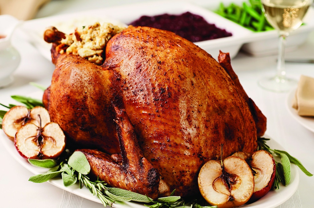 . Roast turkey with apples. Photo courtesy of Getty Images Thanksgiving Dinner