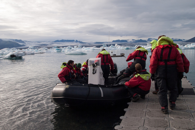 The next tour group piling into one of the zodiac boats