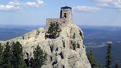 """Cerney co-authored a book with Bobbi Sago entitled """"Black Hills Nation Forest: Harney Peak and the Historic Fire Lookout Towers.""""  This is the tower atop Harney Peak, built by the Civilian Conservation Corps in 1938-39."""