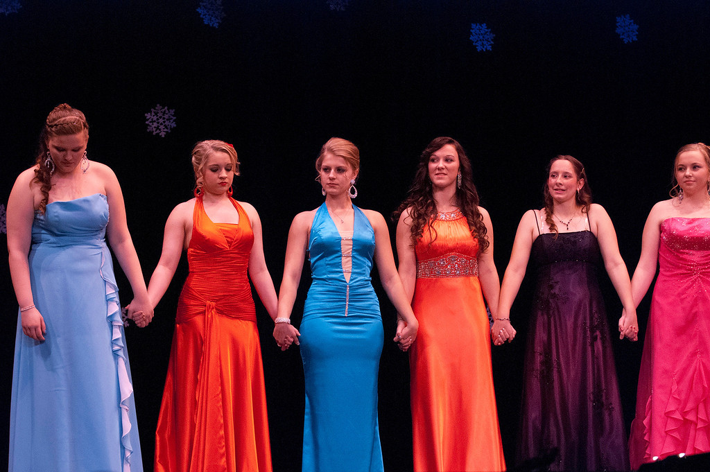 . Kayla Rice/Reformer Queen contestants await the winner announcement during the 2014 Brattleboro Winter Carnival Queen\'s Pageant on Friday evening.