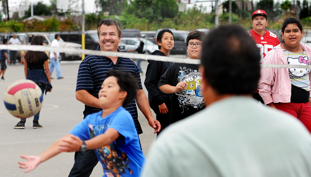 ". Parents played volleyball with their children at Elwin Elementary School in Baldwin Park host, ""Bring Your Dad to School\"" Day Wednesday, October 2, 2013.(Walt Mancini/San Gabriel Valley Tribune)"